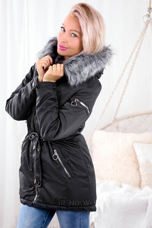 Šedá zimní parka s plyšovou podšívkou - Dámské oblečení 370d84ac763