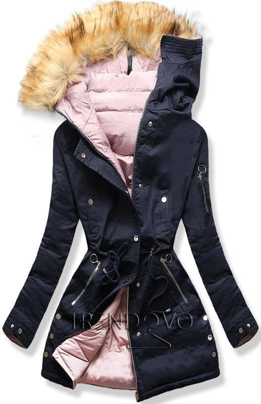cd005f611afb Oboustranná bunda modrá růžová - Dámské oblečení