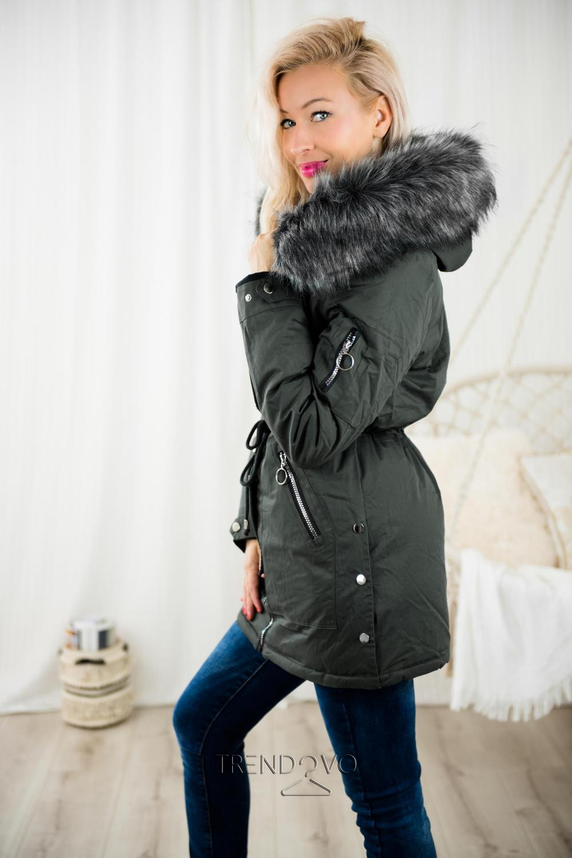 0782cfe35059 Oboustranná bunda khaki černá - Dámské oblečení