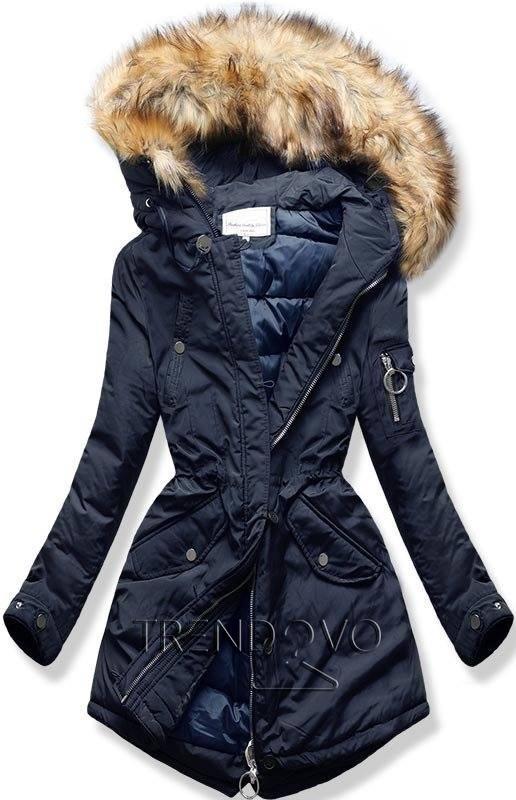 a10e4e0e44d5 Prošívaná zimní bunda tmavě modrá - Dámské oblečení