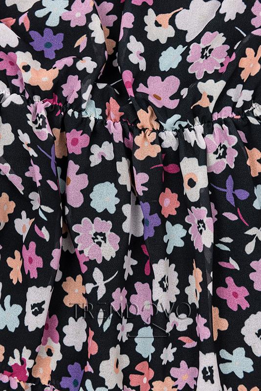 d8e5f60f48 Černo-fialové květinové šaty - Dámské oblečení