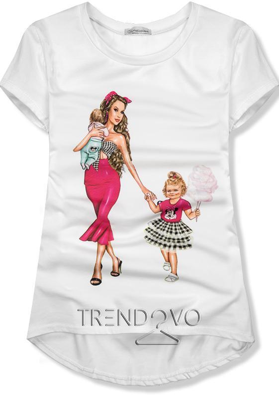 0d9ac1c41bbc Bílé tričko Fashion mama - Dámské oblečení