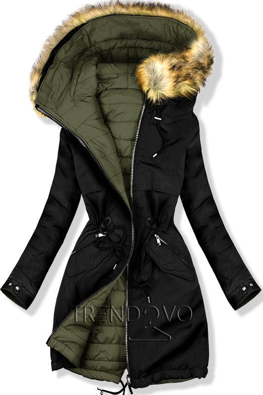 3dba885f2dd9 Oboustranná zimní bunda černá khaki - Dámské oblečení
