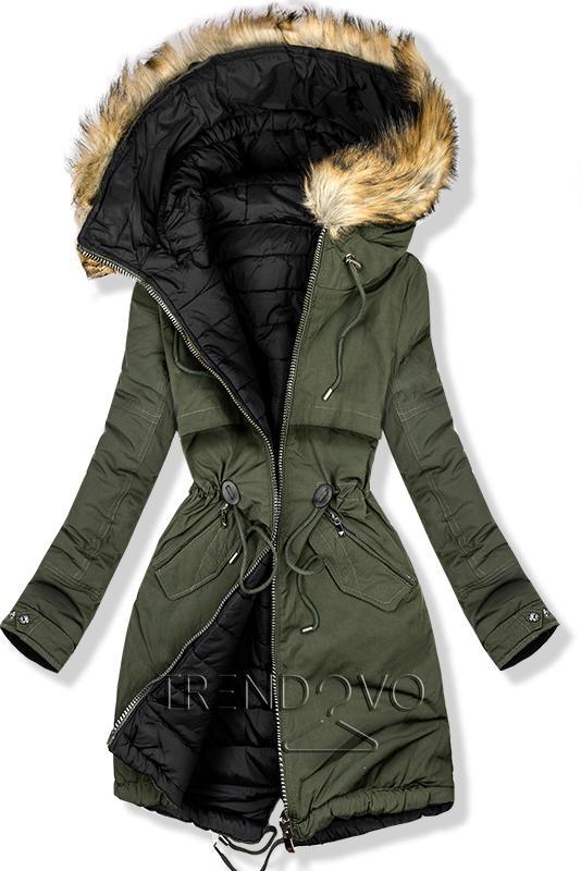 98a534e5e7aa Oboustranná zimní bunda khaki černá - Dámské oblečení