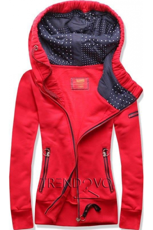 Červená mikina s asymetrickým zipem a8a04a5d999