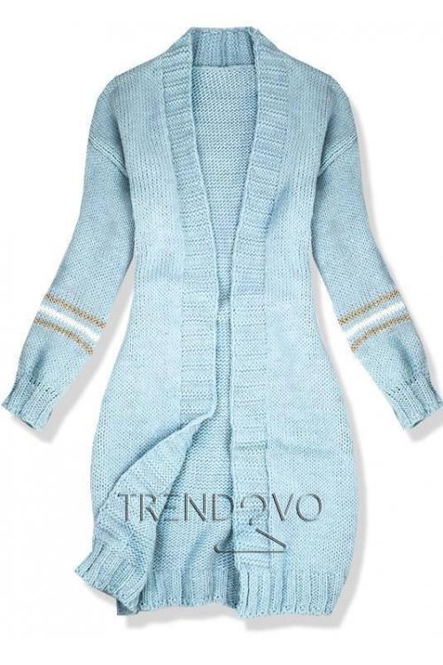 Baby blue svetr s proužky na rukávech 6df6b76670