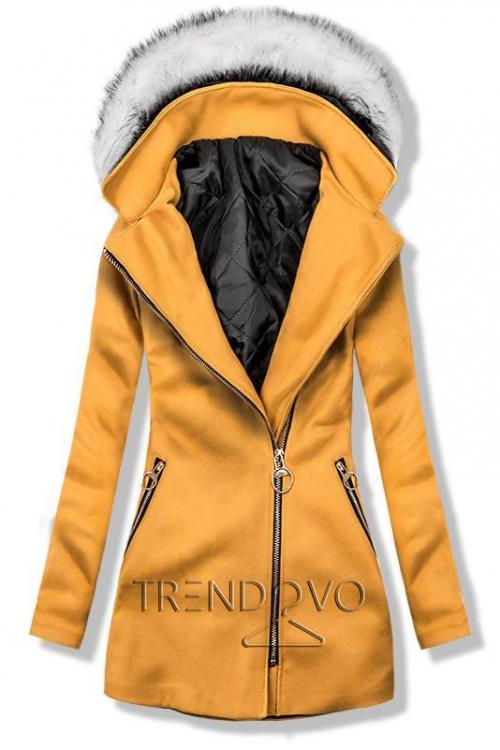 Mustard kabát s kapucí