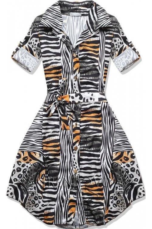 Černo-hnědé šaty se vzorem b4831e62e4