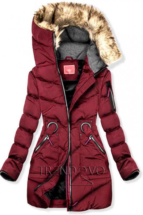 74f8ed8530a4 Bordó zimní prodloužená bunda