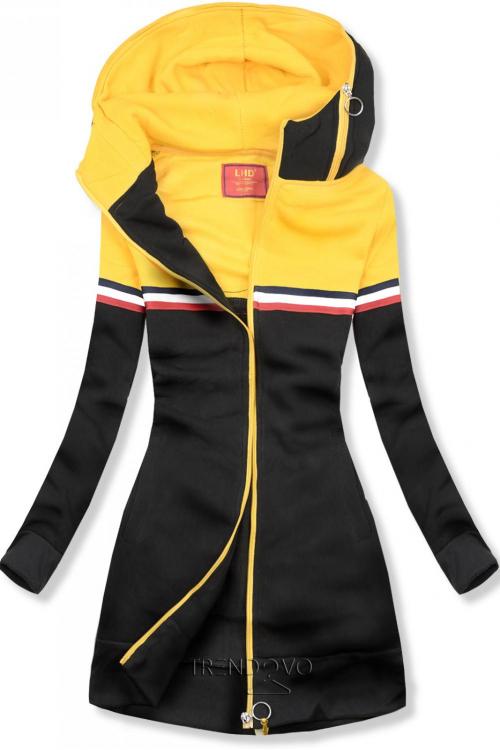 Černo-žlutá dlouhá mikina