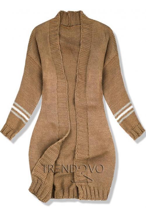 Hnědý svetr s proužky na rukávech 059047e16e