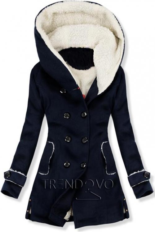Zimní kabát s kožešinovou podšívkou tmavě modrý
