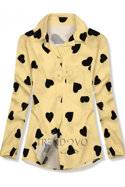 Košile se srdíčkovým motivem žlutá černá 91c88d3b7a