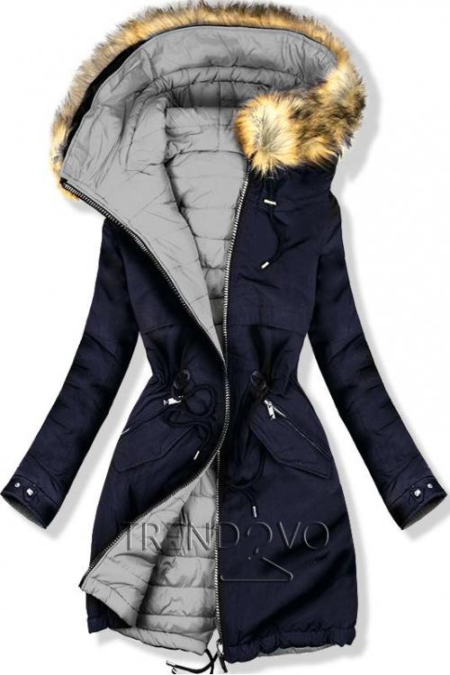4ed306fcac9c Oboustranná zimní bunda černá khaki  Oboustranná zimní bunda modrá šedá