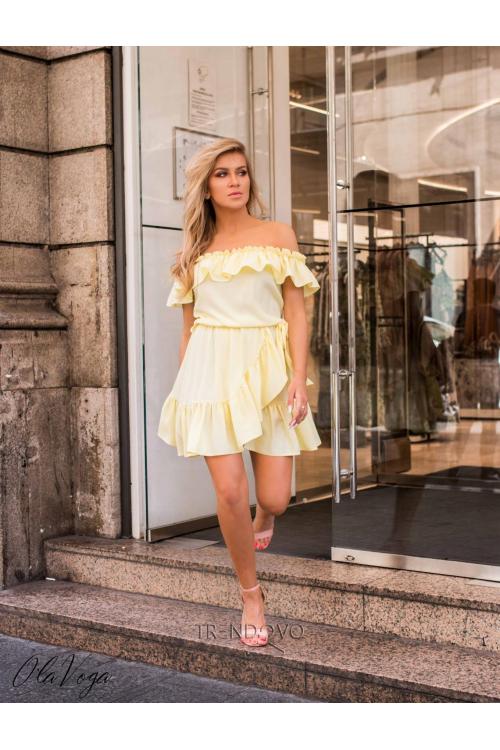 af4079d44 Světle žluté volánové šaty Olivia/O'la Voga