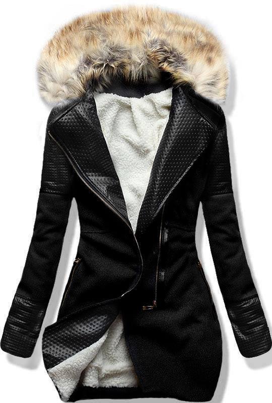 Černý zimní kabát s kožíškem