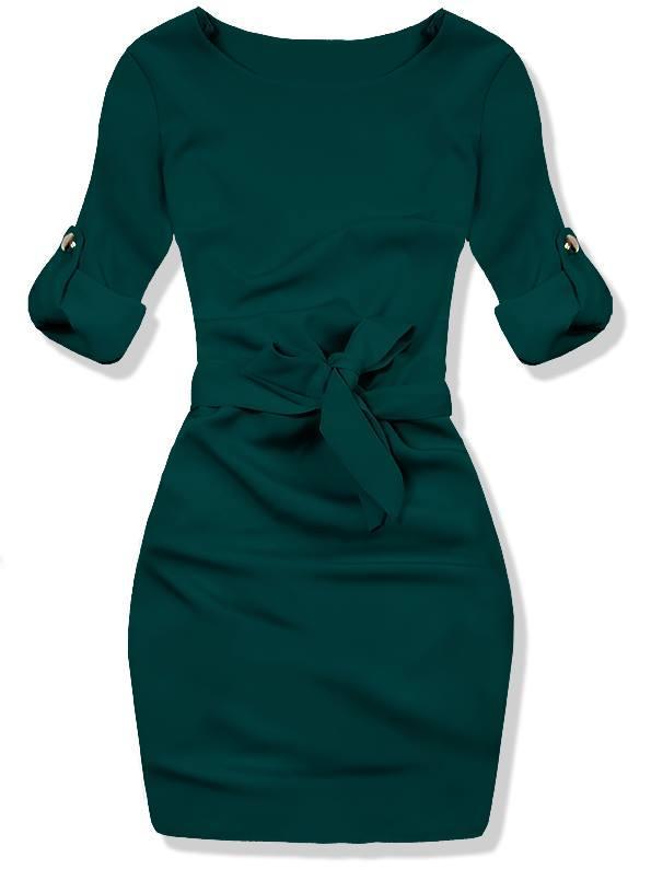 Tmavě zelené šaty se zavazováním v pase