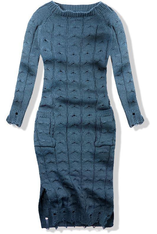 Jeans modré pletené šaty 7295