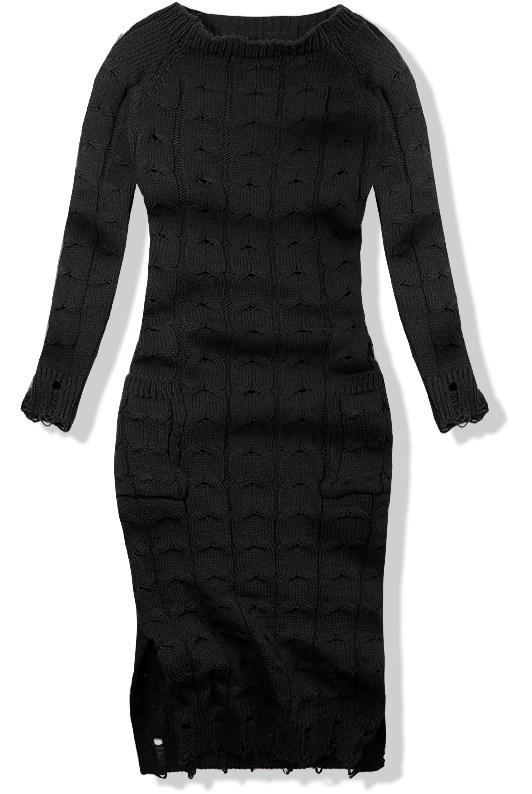Černé pletené šaty 7295