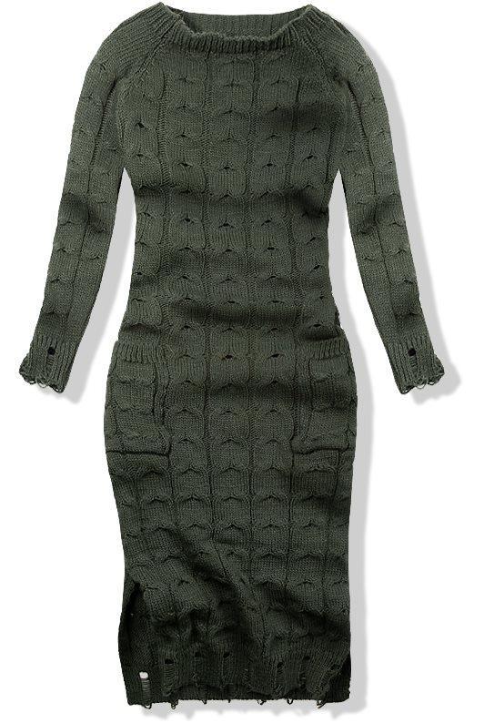 Khaki pletené šaty 7295