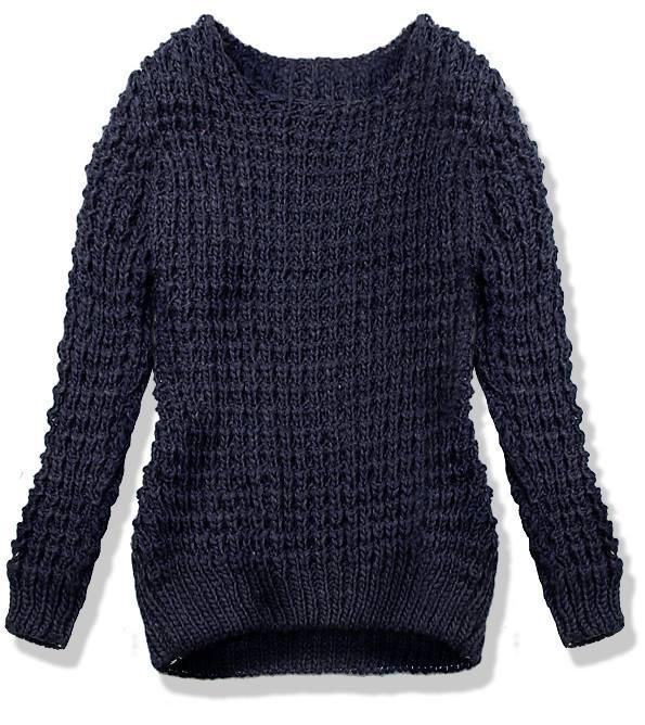 Tmavě modrý pletený svetr LANA