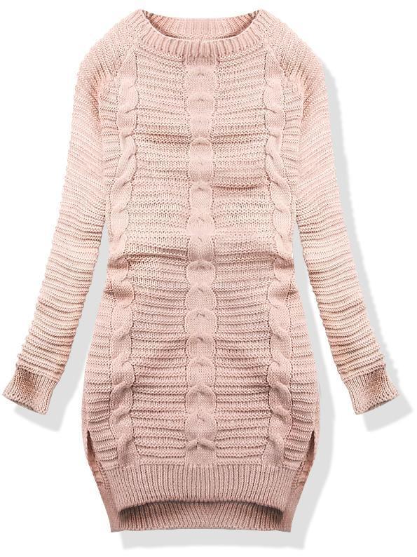 Růžový dlouhý pletený svetr 10103