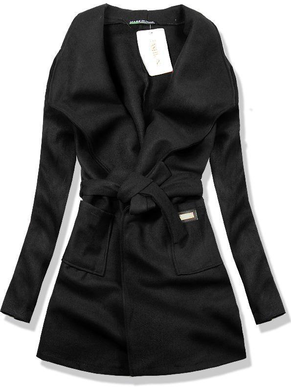 Černý podzimní kabát 6738