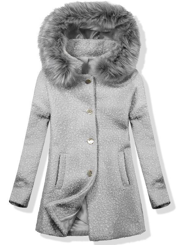 Vlněný podzimní kabát 1950 tmavě šedá/šedá