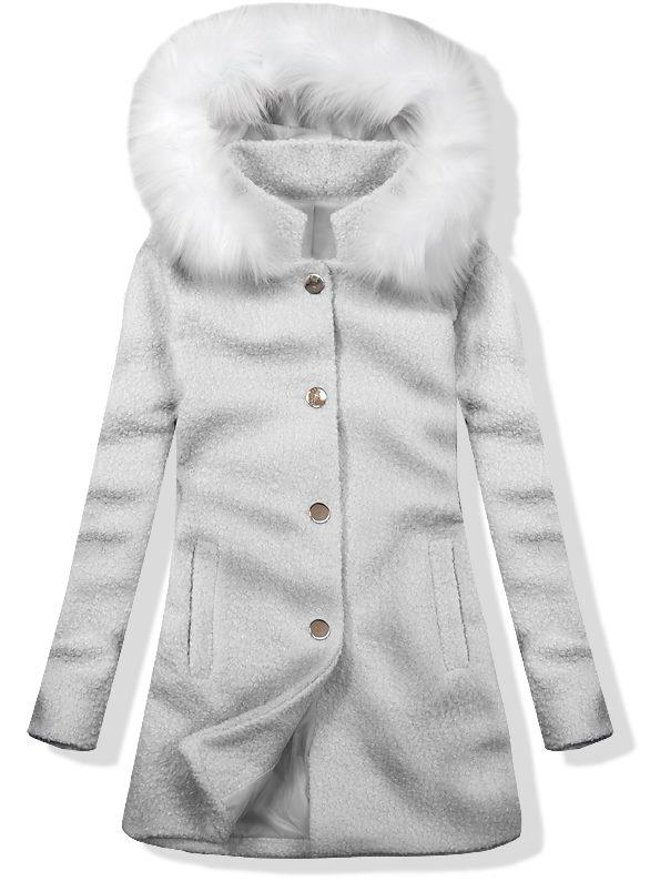 Vlněný podzimní kabát 1950 světle šedá/bílá