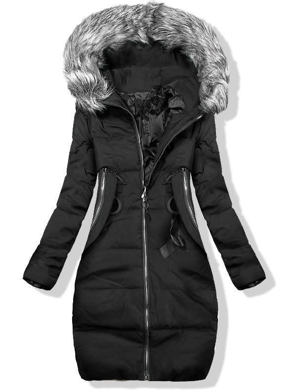 Černá prodloužená zimní bunda