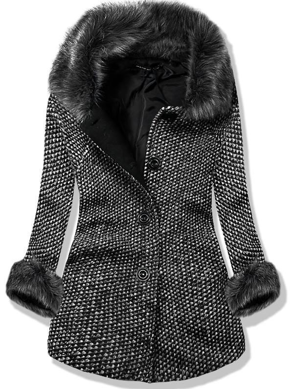 Černý vlněný kabát na knoflíky