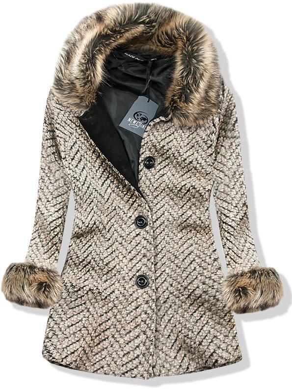 Béžový vlněný kabát na knoflíky