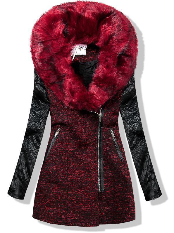Bordový kabát s koženkovými rukávy