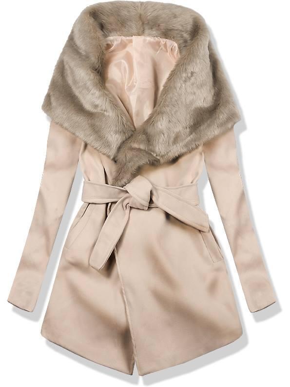 Béžový kabát na zavazování