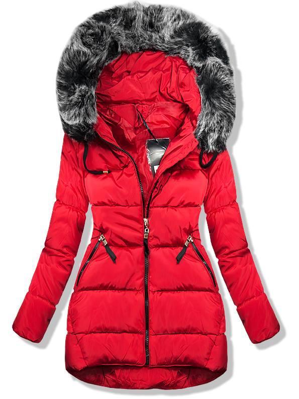 Červená zimní bunda s kapucí