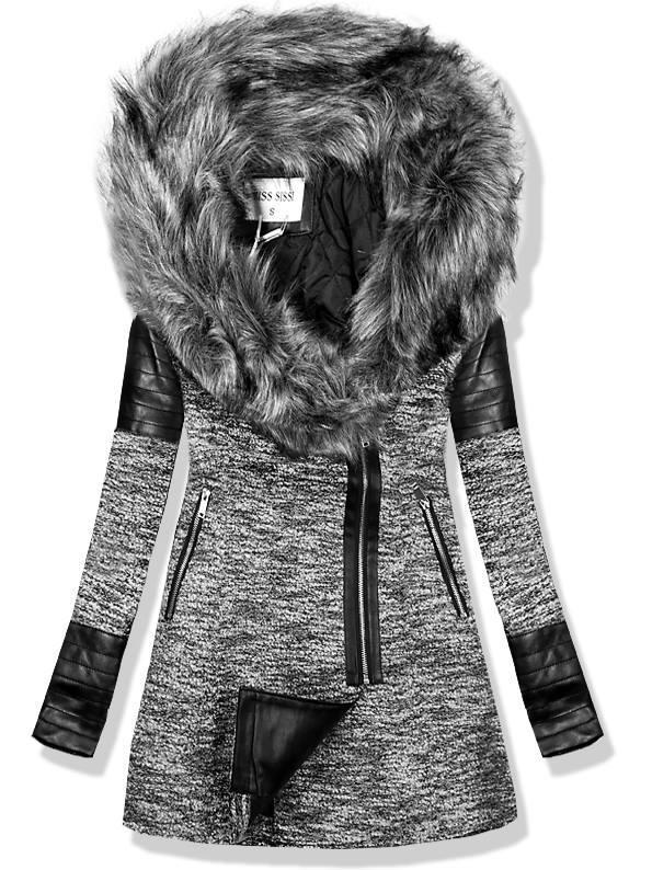 Šedý kabát s koženkovými aplikacemi