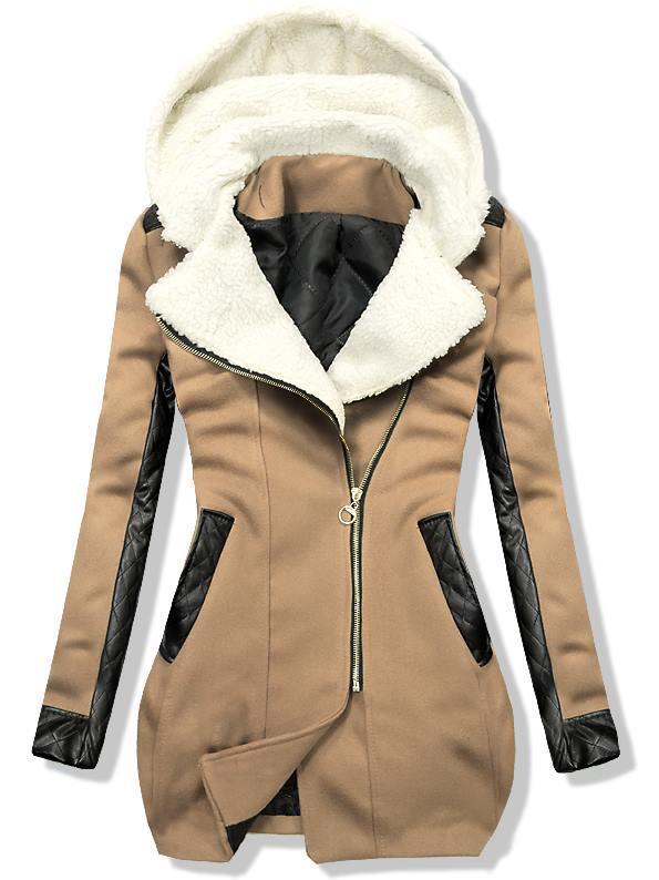 Camel zimní kabát s koženkovými detaily