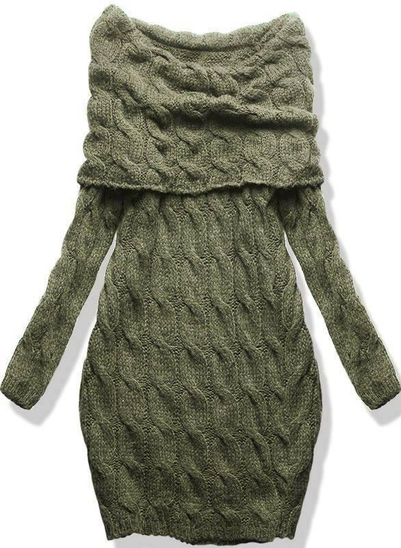 Khaki pletené šaty s odhalenými rameny