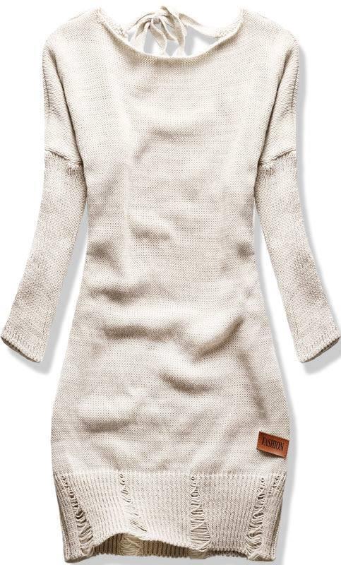 Béžový pletený svetr se zavazováním