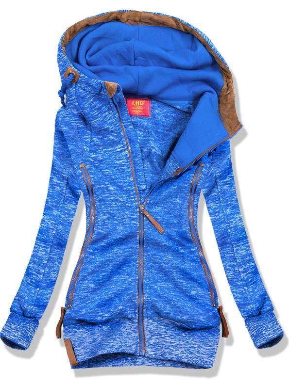 Modrá mikina s vysokým límcem