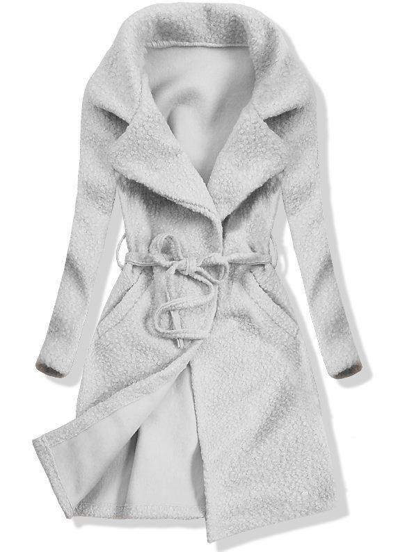 Šedý jarní kabát na zavazování    topik.cz 09e71b371e
