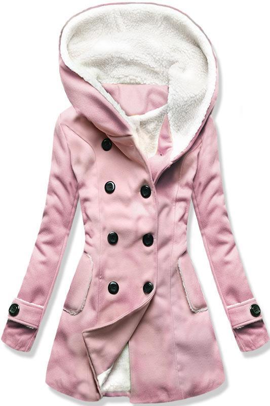 Růžový zimní kabát s kožíškem