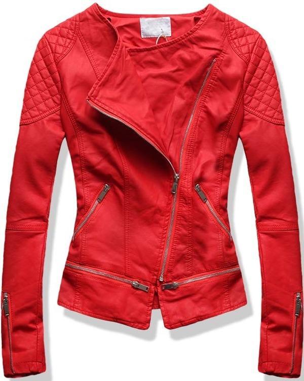 Červená koženková bunda 8809