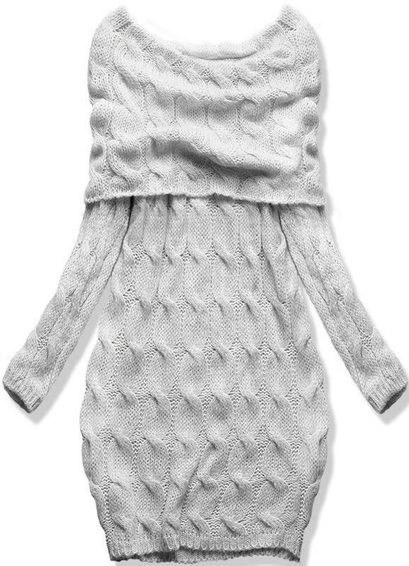 Šedé pletené šaty s odhalenými rameny