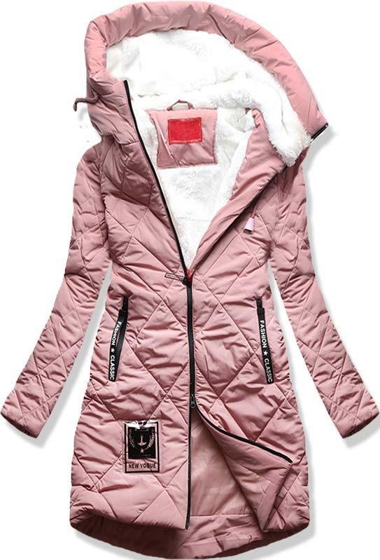 Růžová dlouhá zimní bunda