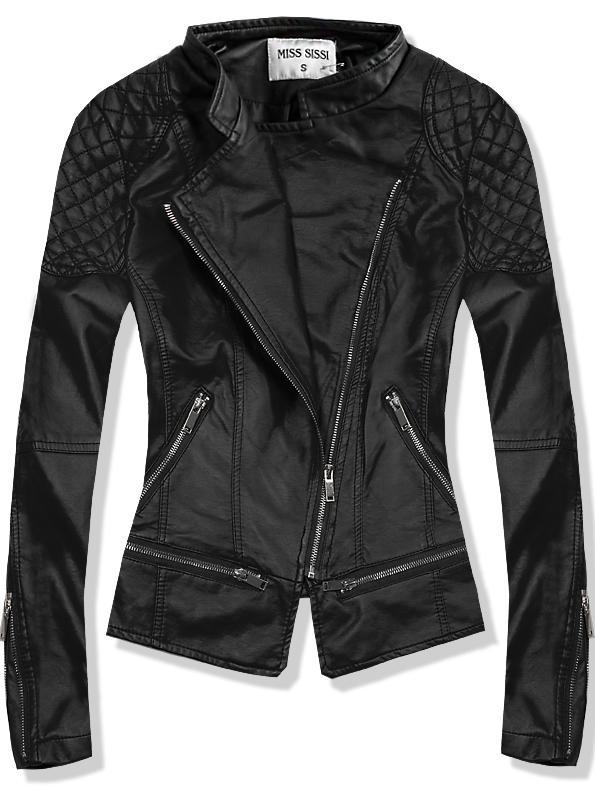Černá koženková bunda 8823
