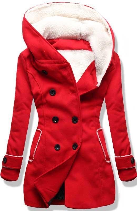 Červený zimní kabát s kožíškem