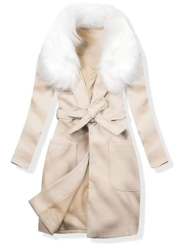 Béžový podzimní kabát s kožešinovým lemem