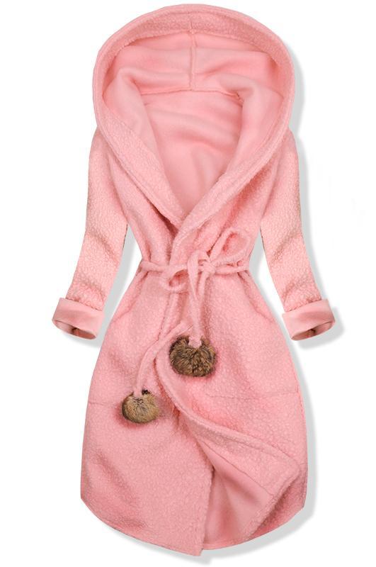 Růžový jarní kabát s kapucí