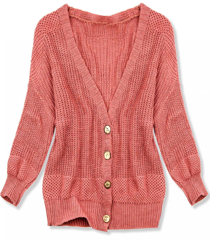 Korálový pletený svetr na knoflíky